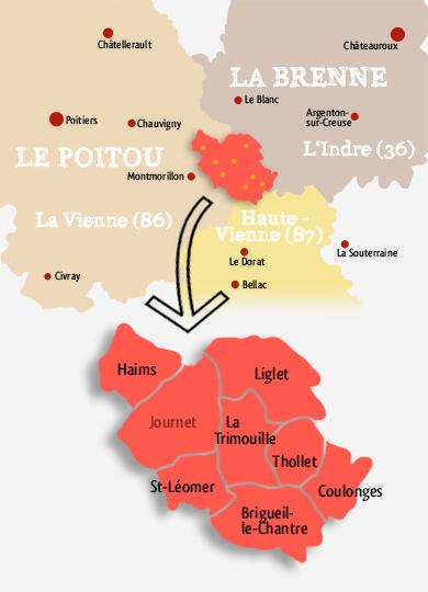 Les communes de l'ex-canton de la Trimouille